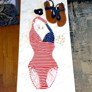 NWOT American Flag One Piece Swimsuit